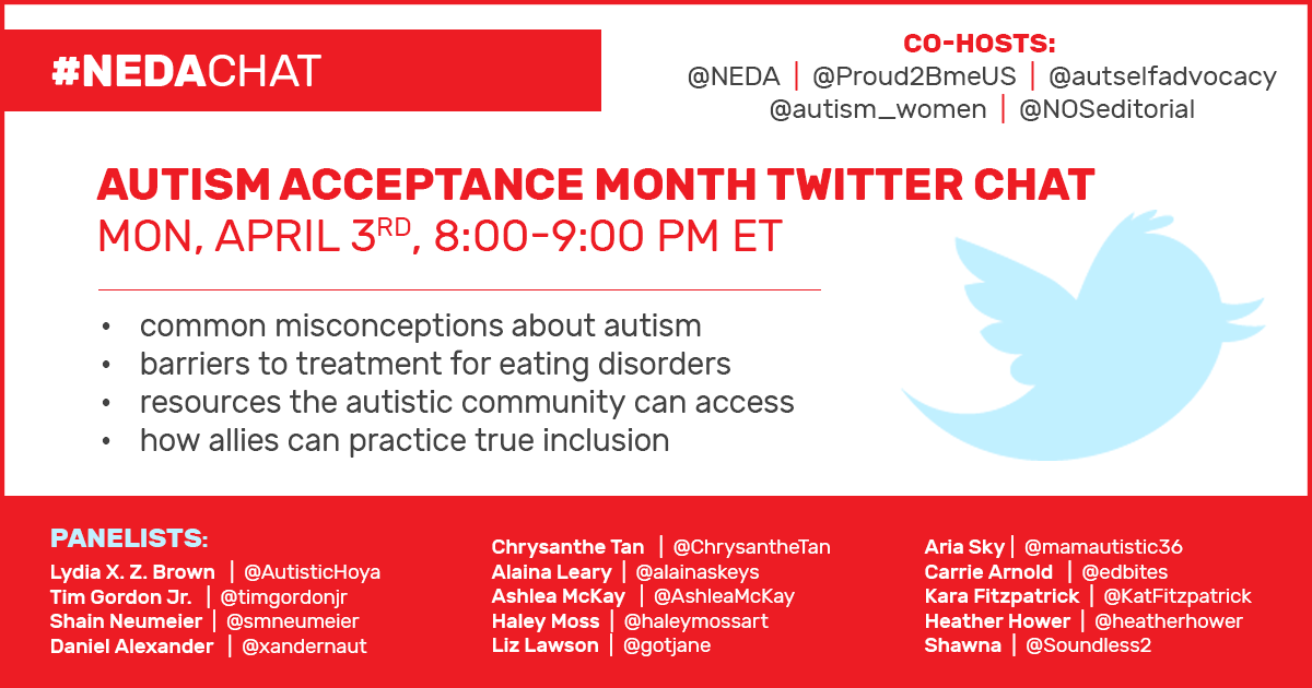 Post thumbnail for NEDA's Autism Acceptance Month Twitter chat info