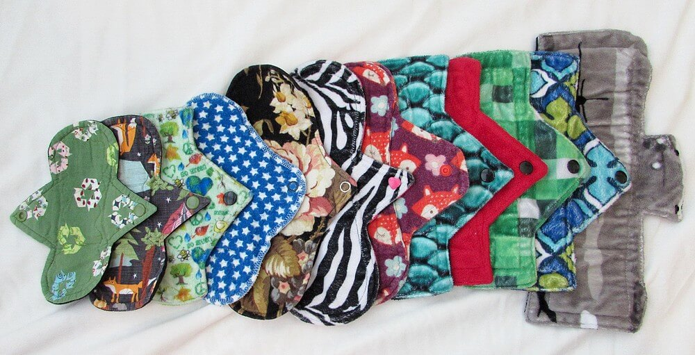 Photo of cloth pads in a row