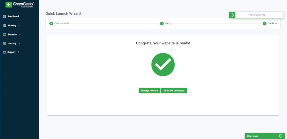 GreenGeeks Quick Launch tool, Congrats, your website is ready!