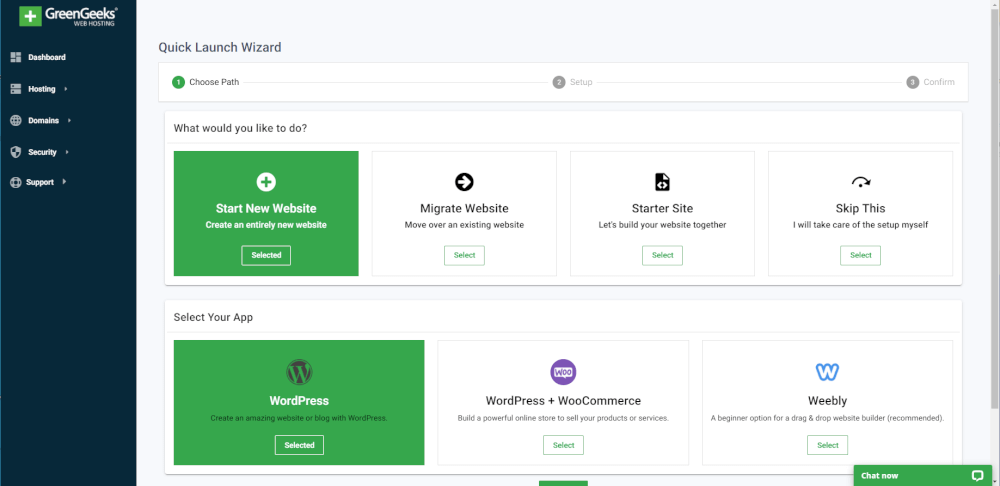 GreenGeeks Quick Launch tool, Start New Website and WordPress selected