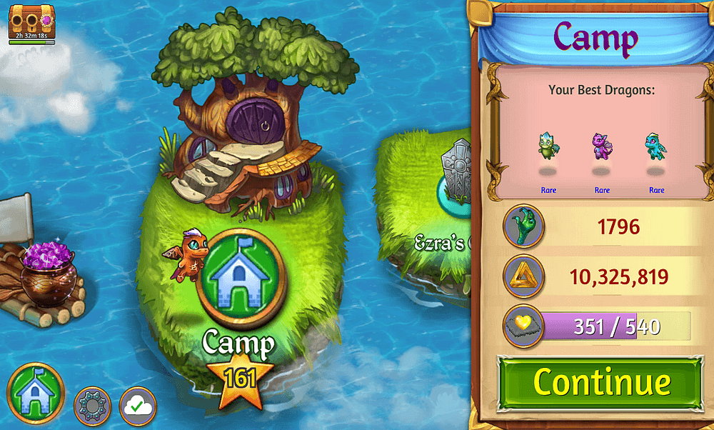 """MergeDragons! screenshot of level screen, focused on the location of """"Camp"""""""