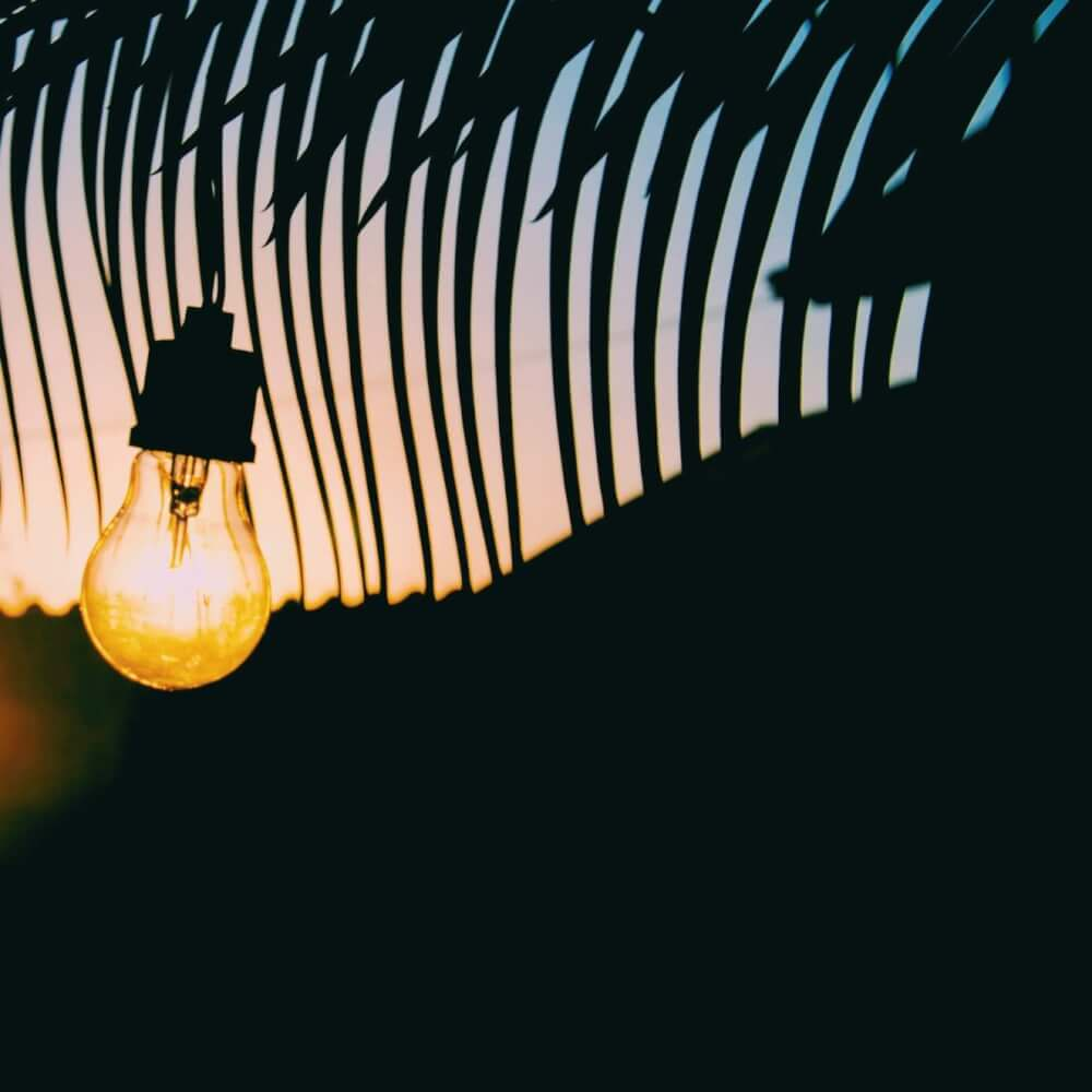 Lit lightbulb hanging on a silhouette background