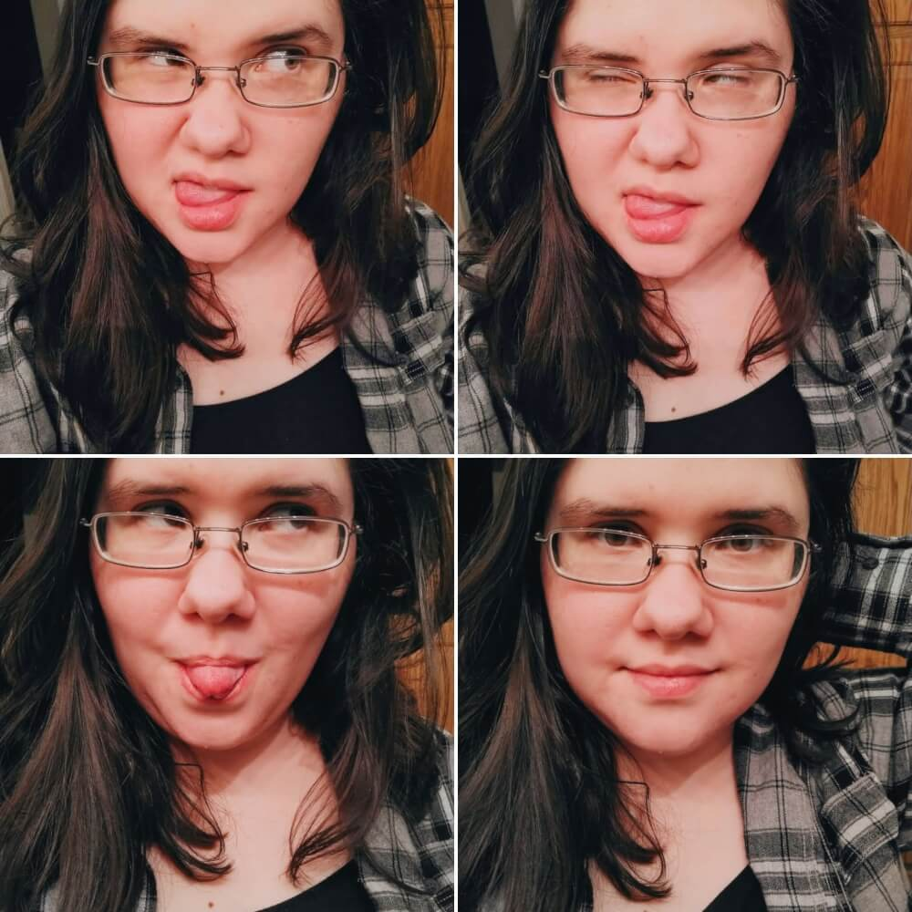 Collage of four photos, top two are silly faces; lower two is a silly face and soft smiling face