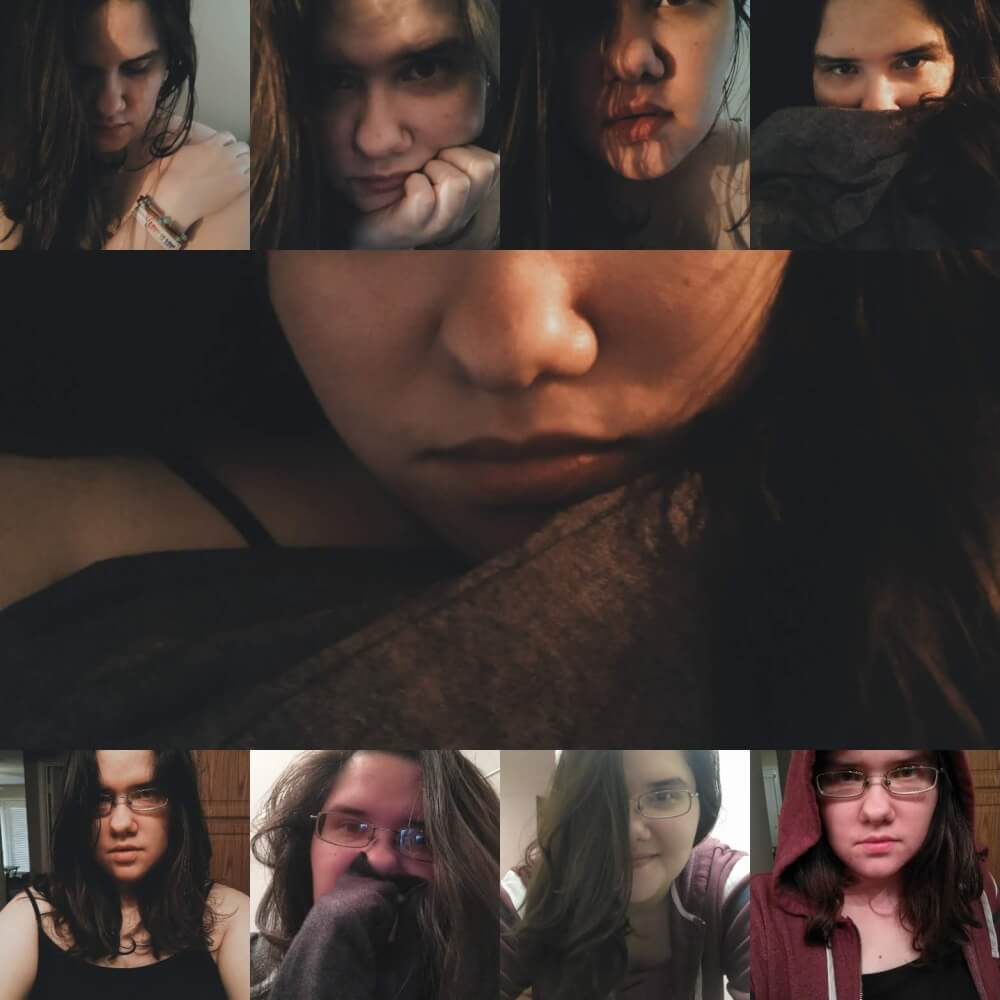Collage of 9 selfies