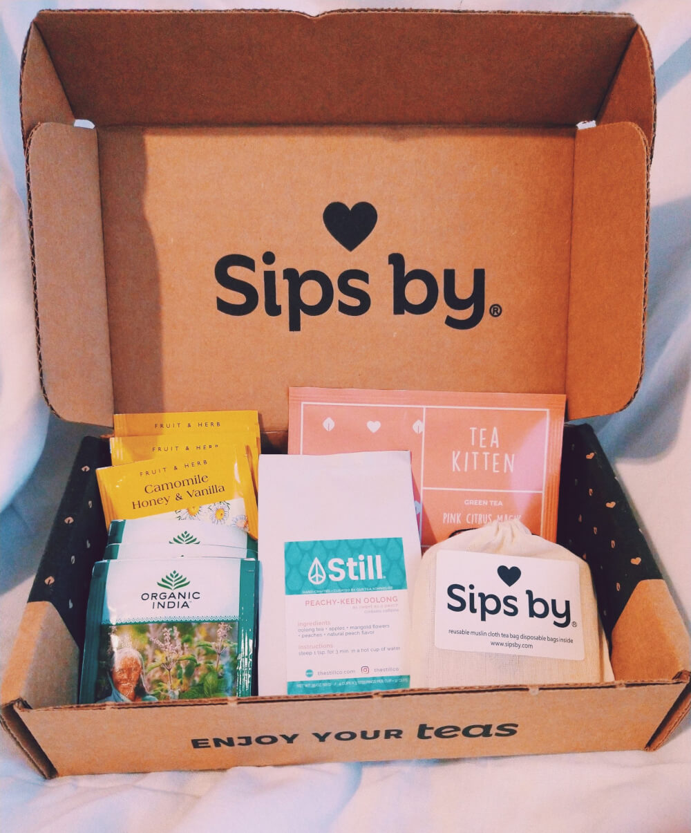 Sips by box displaying teas